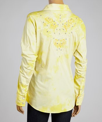 Yellow Reved Button-Up - Women