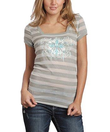 Gray Stripe Cap-Sleeve Burnout Tee - Women