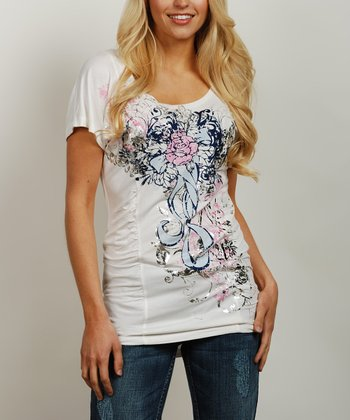 Natural & Pink Ruched Tee - Women