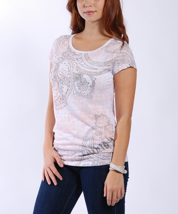 White & Pink Lace Back Tee - Women