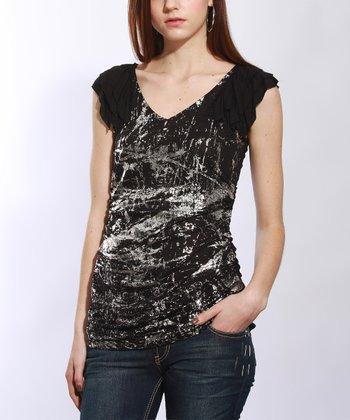 Black & Silver Foil V-Neck Top - Women