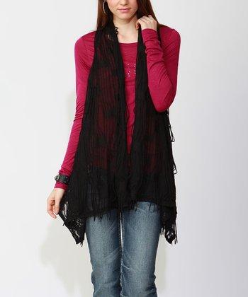 Black Sheer Knit Vest - Women