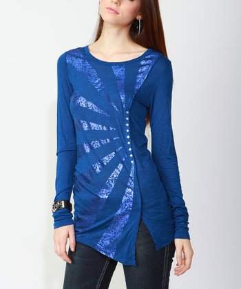 Royal Blue Foil Top - Women