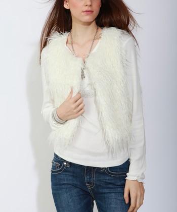 White Faux Fur Vest - Women