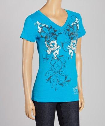 Turquoise Fleur-de-Lis Rhinestone Tee - Women