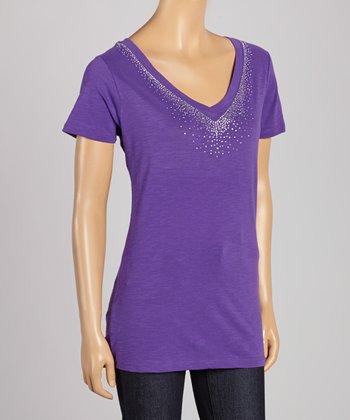Purple Rhinestone V-Neck Tee - Women