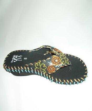 Black & Green Floral Wedge Sandal