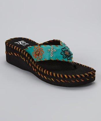 Turquoise & Black Floral Wedge Sandal