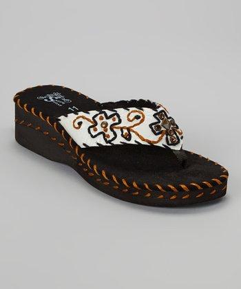 White & Black Floral Wedge Sandal