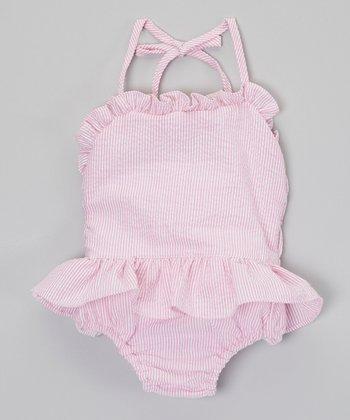 Pink Ruffle Seersucker One-Piece - Infant, Toddler & Girls