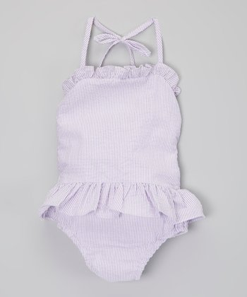 Purple Ruffle Seersucker One-Piece - Infant, Toddler & Girls