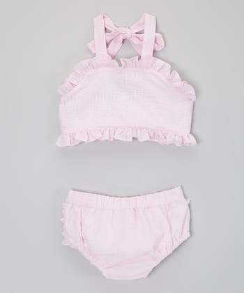 Pink Ruffle Seersucker Bikini - Infant & Toddler