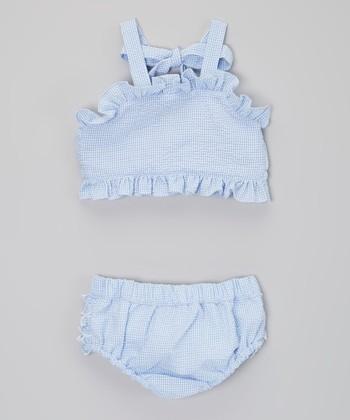 Blue Ruffle Seersucker Bikini - Infant, Toddler & Girls