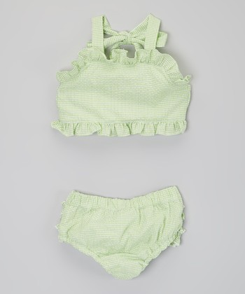 Green Ruffle Seersucker Bikini - Infant, Toddler & Girls
