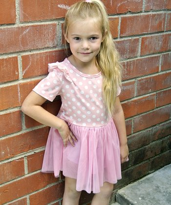 Light Pink Polka Dot Ruffle Dress - Toddler & Girls