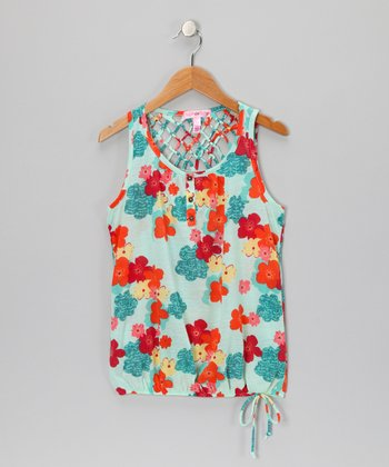 Aqua Floral Lattice-Back Tank - Girls