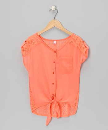Orange Lace Tie Top