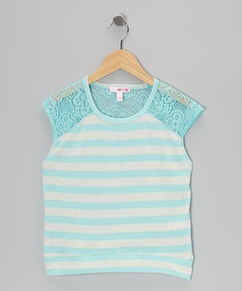 Mint & Oatmeal Stripe Cap-Sleeve Tee