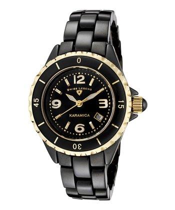 Black & Gold Karamica Watch - Women