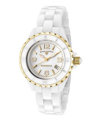 White & Gold Ceramic Karamica Watch - Women
