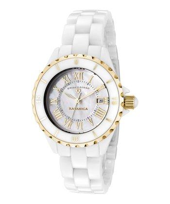 White & Gold Roman Numeral Karamica Watch - Women