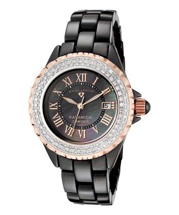 Black & White Sparkle Roman Numeral Karamica Watch - Women