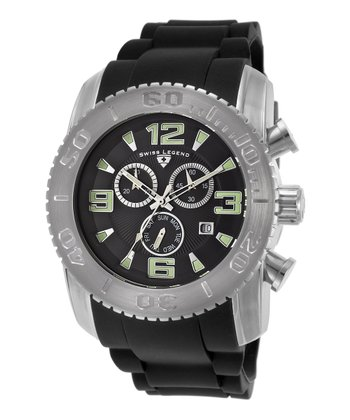 Black & Silver Rubber Commander Chronograph Watch - Men