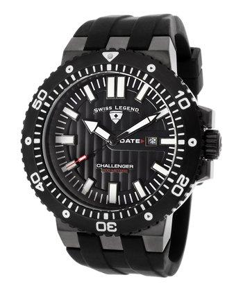Black Textured Challenger Watch - Men