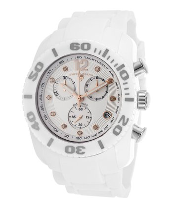 White Commander Chronograph Watch - Men