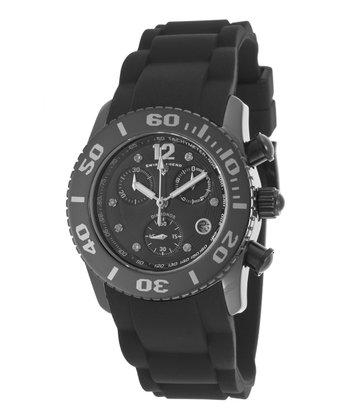 Black & Silver Ceramic Commander Chronograph Watch - Men