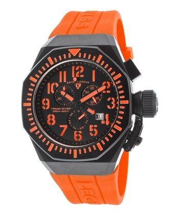 Orange & Black Trimix Diver Chronograph Watch - Men