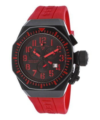 Red & Black Trimix Diver Chronograph Watch - Men