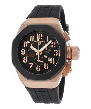 Black & Rose Gold Trimix Diver Chronograph Watch - Men