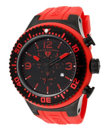 Red & Black Neptune Chronograph Watch - Men