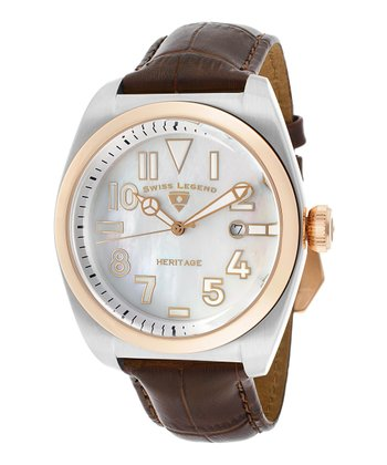 Brown & Rose Gold Heritage Leather Watch - Men