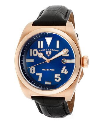 Blue & Rose Gold Heritage Leather Watch - Men