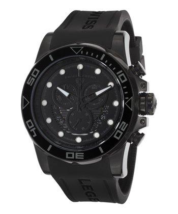 Black & Silver Avalanche Chronograph Watch - Men