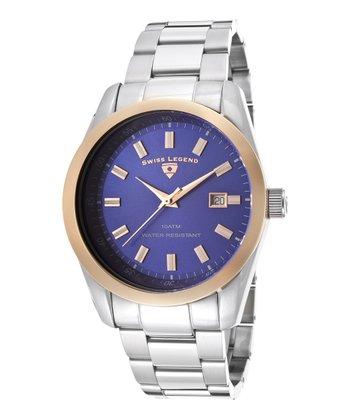 Blue & Rose Gold Classic Watch - Men