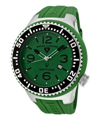Green & Silver Neptune Rubber Watch - Men