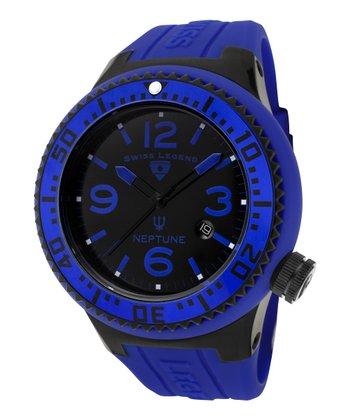 Blue & Black Neptune Rubber Watch - Men