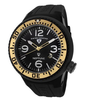 Black & Gold Neptune Rubber Watch - Men
