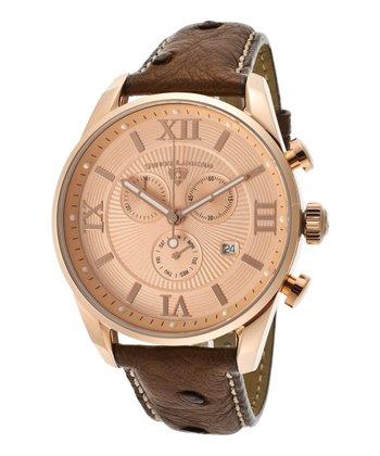 Rose Gold & Brown Bellezza Chronograph Watch - Men