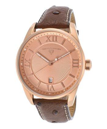 Rose Gold & Brown Bellezza Watch - Men