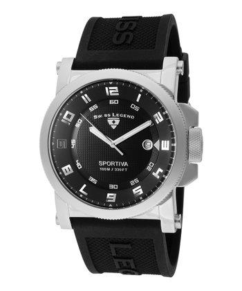 Black & Silver Sportiva Watch - Men