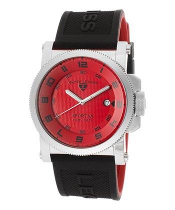 Black & Red Sportiva Watch - men