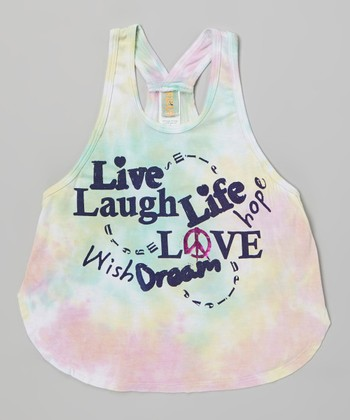 White Tie-Dye 'Live Laugh' Jamaica Tank - Girls