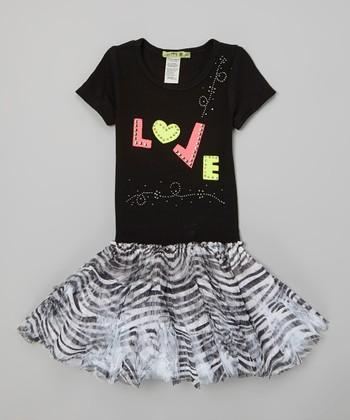 Black & White 'Love' Zebra Tutu Dress - Infant, Toddler & Girls