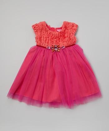 Coral & Hot Pink Chandelier Jewel Dress - Toddler & Girls
