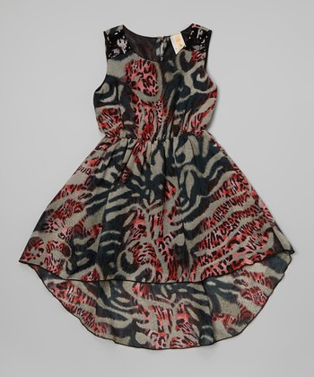 Olive & Red Wild Child Sleeveless Dress - Girls