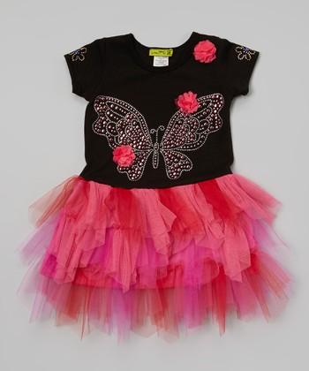 Black & Pink Butterfly Tutu Dress - Toddler & Girls